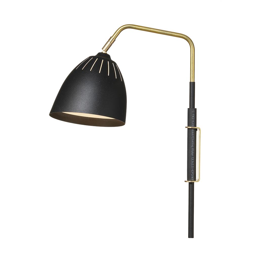 Lean Væglampe (ledning), Messing/sort