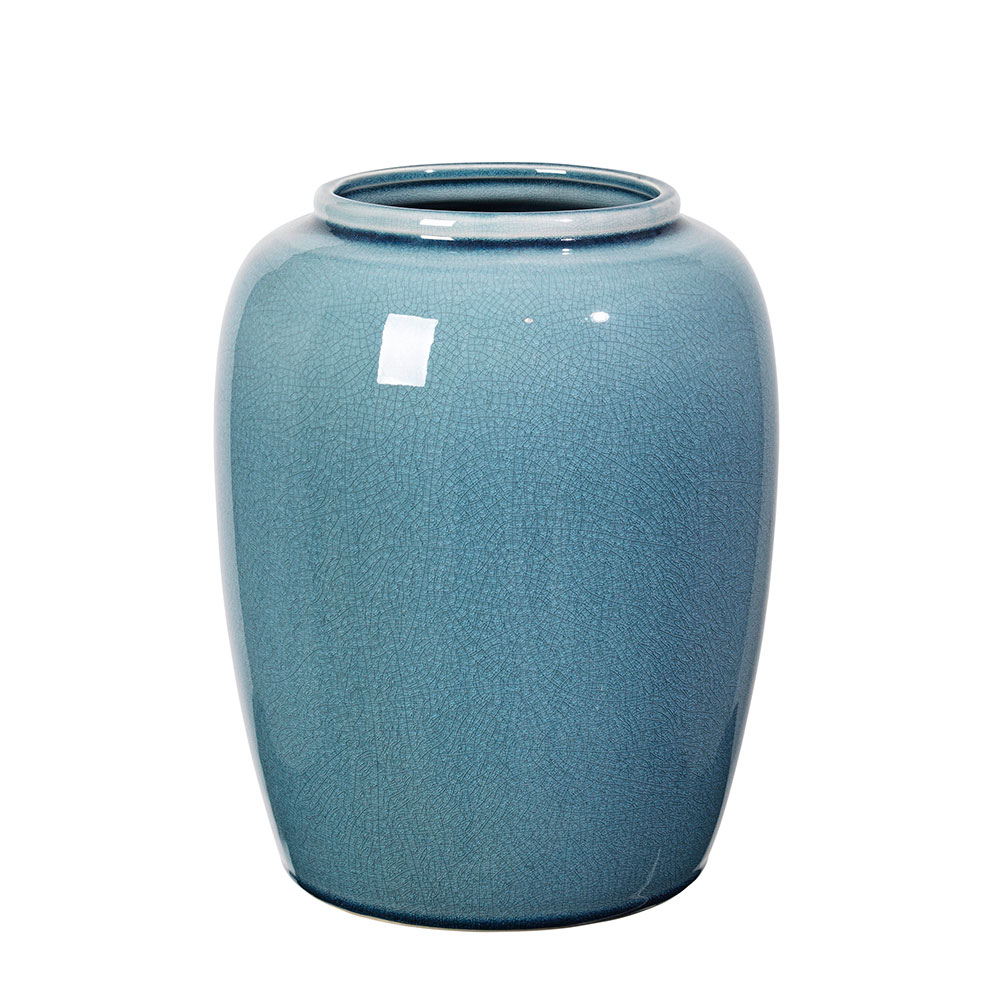 crackle vase 25 5 cm flint stone blue broste copenhagen. Black Bedroom Furniture Sets. Home Design Ideas