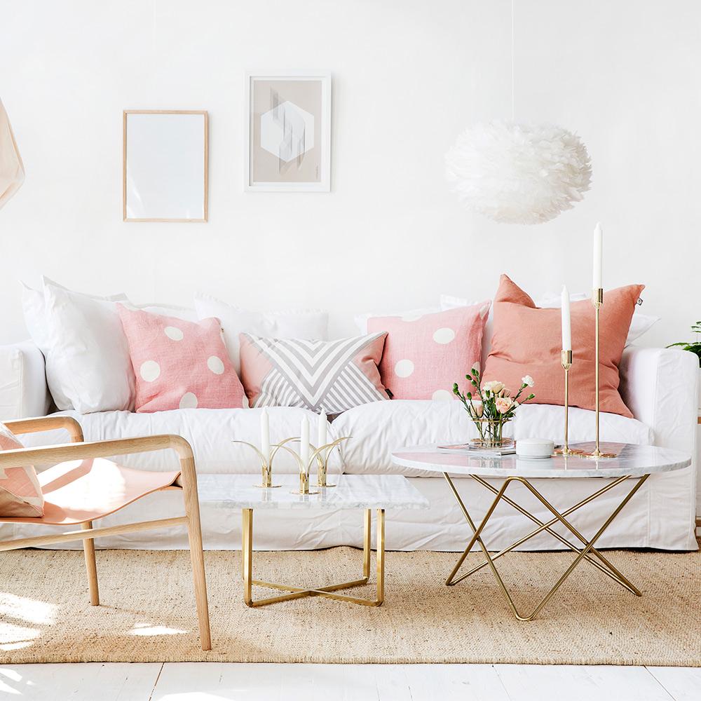 O Sofabord, Hvid Marmor Messing Dennis Marquart OX Denmarq RoyalDesign dk