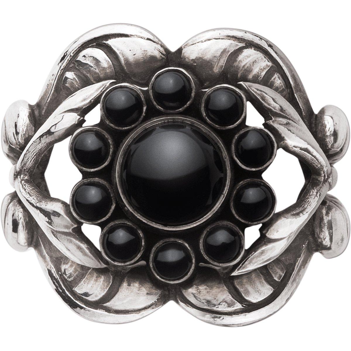 Moonlight Blossom Ring , Sort Agate