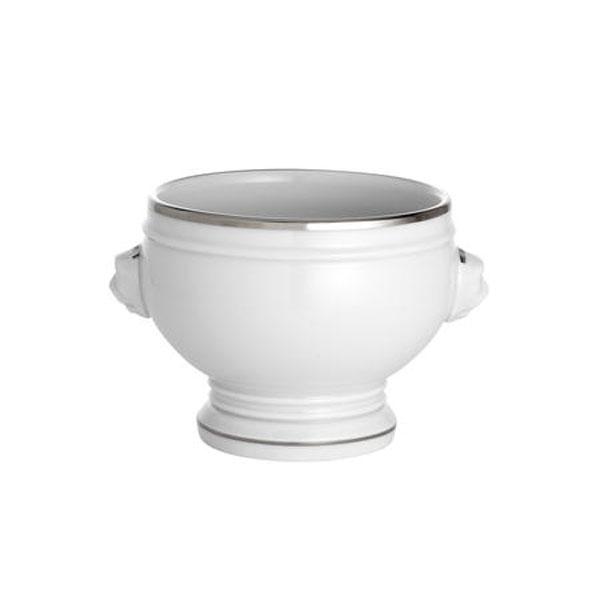 Bord Platine Suppeskål Nr.4 40 cl, Hvid/Sølv